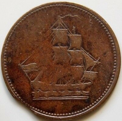 LC-56C1 Lower Canada Canadian Colonial Token - Ship - Seated Justice