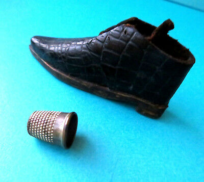 Antique Rare  Leather Boot,wood Sole Design Child Size Sewing Thimble Holder.