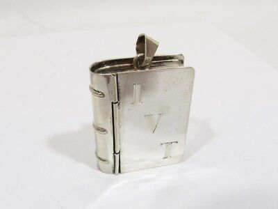 VINTAGE STERLING SILVER 925 BOOK SHAPED PILL, SNUFF or ROSARY BOX, NICE