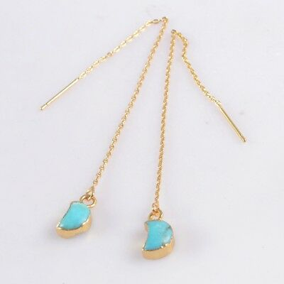 """4.2"""" Crescent Moon Genuine Turquoise Long Threader Earrings Gold Plated T073702"""