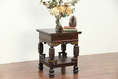 Arts & Crafts Oak Antique Craftsman Hall Table or Sculpture Pedestal #29544