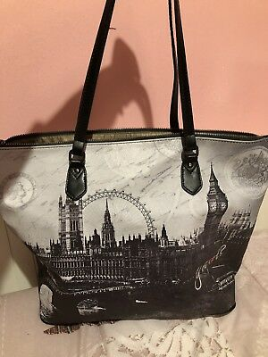 Ynot Borsa Shopper Donna Londra London nera a spalla 34beba02897