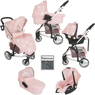 My Babiie Mb200+ Travel System Pink Stars Pram / Pushchair Mode