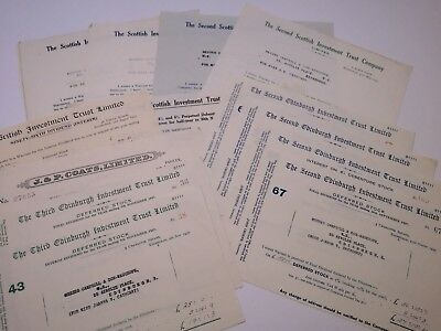 13 Share dividend certificates from 1937, Edinburgh, Scottish Investment Trust