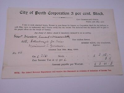 Share dividend certificates from May 1900, City of Perth, Scotland