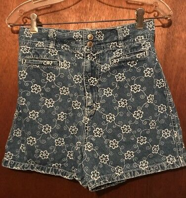 Vintage Route 66 High Waist Mom Jeans Floral 100% Cotton Shorts Girls Size 16