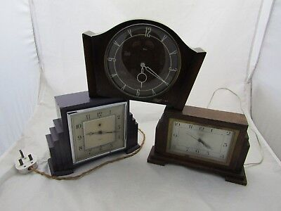 Vintage Art Deco Job Lot 3 Smiths Wooden Synchromatic Electric Sec Clocks Superb