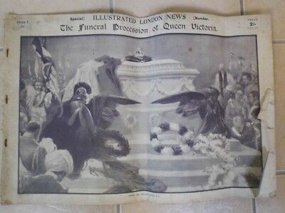 antique Queen VICTORIA Funeral procession Illustrated London News 1901 LARGE