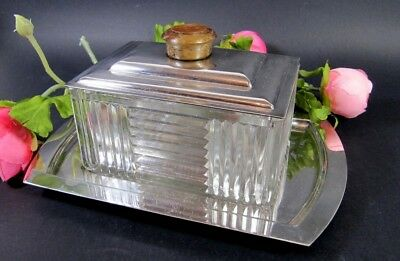 Antique French ART DECO Cookie Box w/ Tray Silver Plated Glass Modernism 1930s