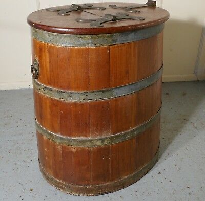 18th Century Ships Salt Beef Barrel, Oak and Brass Ships Storage Tub