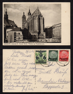 POLAND Old Postcard - Warsaw Virgin Mary Church, mailed in 1940
