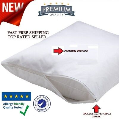 4 Pack King Size Zippered Pillow Protector Stain Resistant COTTON Case Cove