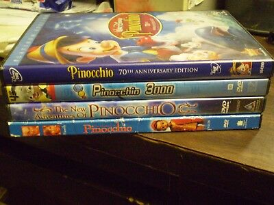 (4) Disney Pinocchio DVD Lot: Disney Platinum Edition + Pinocchio 3000 + 2 More