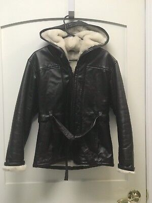 Wilsons Leather Women's Faux Fur Lined Hooded Belted Dark Brown Size Small