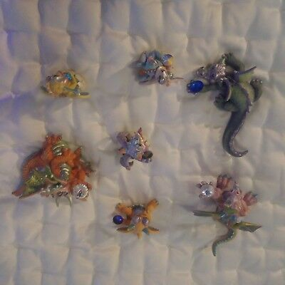MOOD DRAGONS Franklin Mint Dragon Figurines Lot of 7 Collectibles