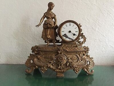 RARE antike sehr alte Pendel Kamin-Uhr, made in FRANCE 19th century