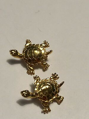 Lot Of 2 Small Vintage Gold Turtle Pins
