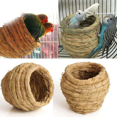 1x Straw Woven Bird Nest Handmade Natural Parrots Pigeon Swallow Small House NEW