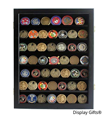 Military Challenge Coin / Poker Chip Display Case Cabinet Rack Shadow Box Wood,
