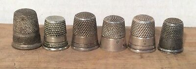 Antique Vtg Lot 6 Sterling Silver Austria & England Marked Thimble Collection