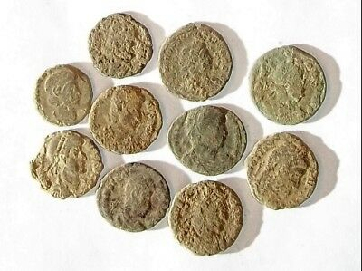 10 ANCIENT ROMAN COINS AE3 - Uncleaned and As Found! - Unique Lot 01110