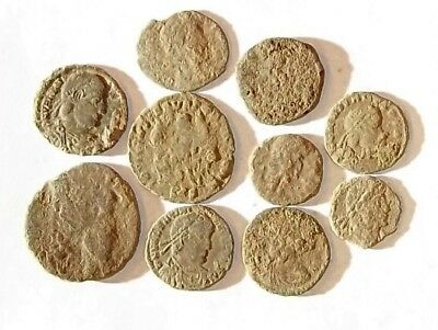 10 ANCIENT ROMAN COINS AE3 - Uncleaned and As Found! - Unique Lot 34436