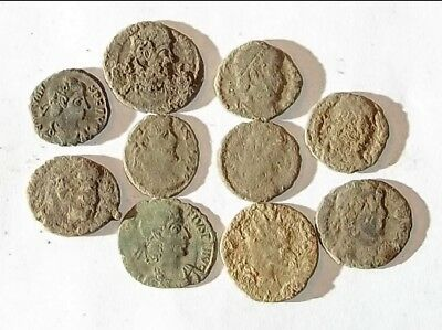10 ANCIENT ROMAN COINS AE3 - Uncleaned and As Found! - Unique Lot 34426