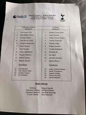 TOTTENHAM HOTSPUR U-23 v CHELSEA UNDER-23 RESERVES 2016-17 PREMIER LEAGUE 2