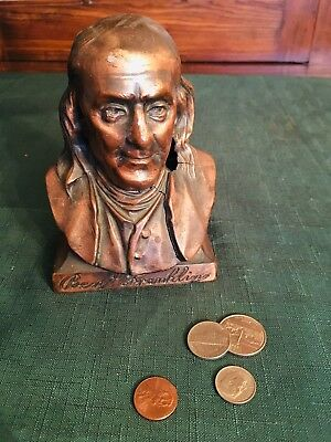 Vintage Ben Franklin Coin Bank - Franklin Life Insurance 1884