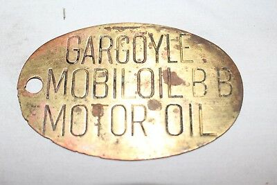 Vintage c.1930 Mobil Gargoyle BB Oil Brass Lubester Gas Station Can Tag Sign