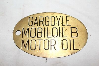 Vintage c.1930 Mobil Gargoyle B Oil Brass Lubester Gas Station Can Tag Sign