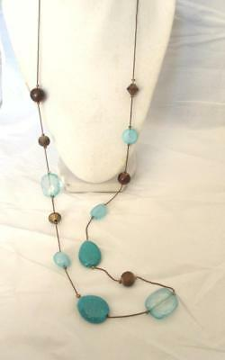 """Acrylic Bead Long Necklace Turquoise on Bronze Tone Chain  Lobster Clasp 36"""""""