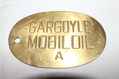 Vintage c1930 Mobil Gargoyle A Motor Oil Brass Lubester Gas Station Can Tag Sign