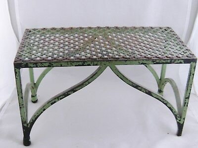 ANTIQUE FRENCH SMALL PAINTED IRON BENCH STAND  SHELF TABLE with CLOVER DESIGN