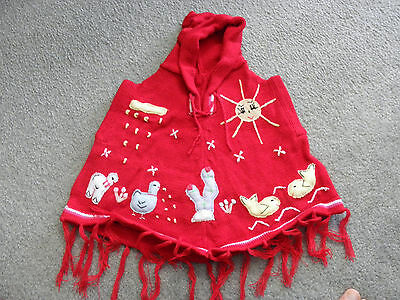 New Made In Peru Patch Work Poncho with Hood Size 12 - 16 Months Red #010303