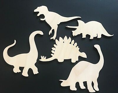 5-Pack Dinosaurs Boy's Room Decor Wall T REX Laser Unfinished Wood Cutout Crafts