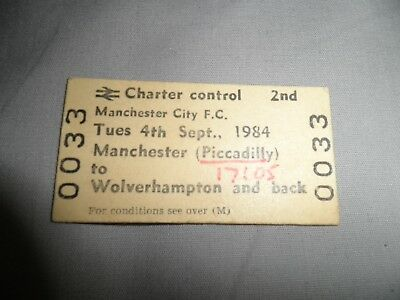 Manchester City F C Charter Train Travel Ticket To Wolverhampton And Back 4/9/84