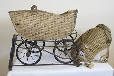 Vintage Antique Wicker Baby Buggy Stroller Carriage Doll Old Parts Or Repair Nr