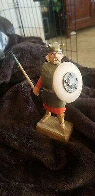 Norwegian Henning Hand Carved Wood Viking Man with Axe and Shield Vintage