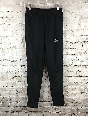 Youth Kids Adidas Medium Black Jogger Pants Zippered Ankles Climacool Sweatpants