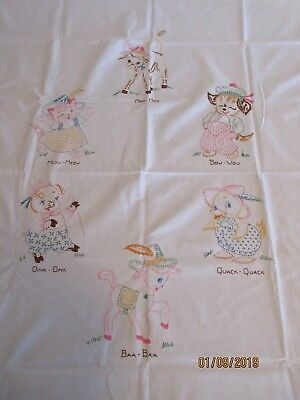 VINTAGE EMBROIDERED BABY CHILD COVERLET, DOG CAT DUCK PIG LAMB CALF, 44x64
