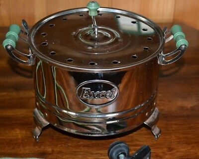 Vintage EXCEL Popcorn Popper Electric Green Wood Handles Cloth Cord INV. #119-39