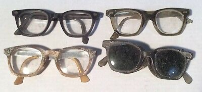 Lot 4 Vtg 40s 50s 60s Safety Glasses Goggles AO American Optical & Aden HIPSTER