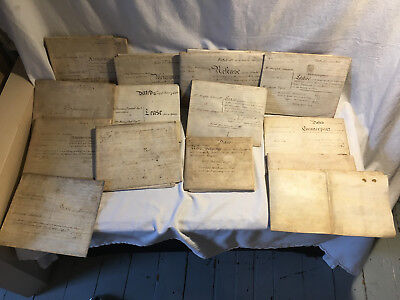 Lot of 14 Vellum Deed Indentures from England, ft. Watercolor