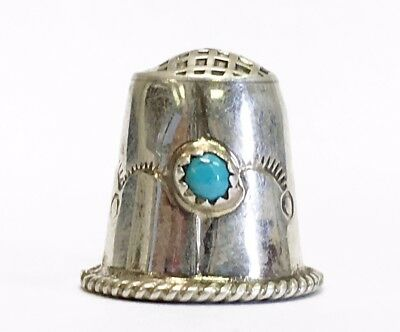 Excellent Sterling Silver Thimble w/ Turquoise