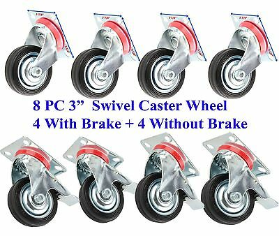 "8 PC 3"" Swivel Caster Wheel With Ball Bearings 4 PC With Brake + 4 PC Without"