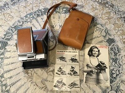 Vintage Polaroid Sx-70 Land Camera With Ever-Ready Leather Case & Instructions