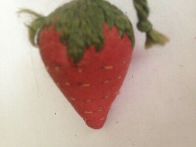 Antique Sewing Strawberry Emery Needle Sharpener Handmade 19Th C Red
