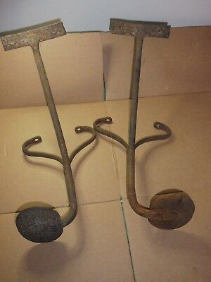 2 pair ANTIQUE PRIMITIVE METAL CAST IRON BUGGY CARRIAGE WAGON TRACTOR STEP 1800s