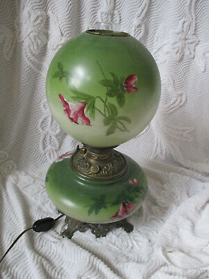 Unique Antique Hurricane Gone with the Wind Parlor Lamp hand-painted floral